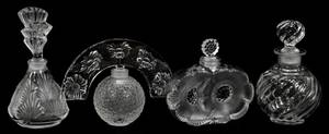052193 LALIQUE CRYSTAL PERFUME BOTTLES THREE