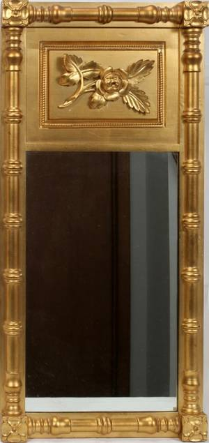 051247 FEDERAL STYLE GILT WOOD VERTICAL MIRROR 37 X