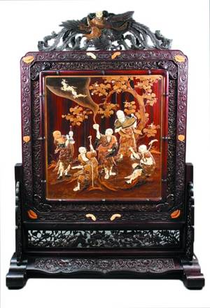 Very Fine Japanese Carved Rosewood Floor Screen