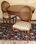 050151 LOUIS XV FRUITWOOD DINING TABLE AND CHAIRS