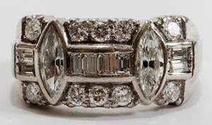 042237 MARQUIS BAGUETTE AND ROUND DIAMOND RING