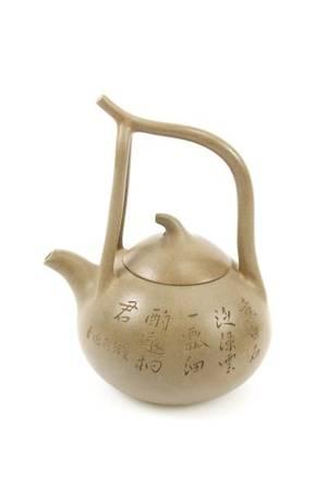 Green Yixing Zisha Teapot w Stem Handle Marked