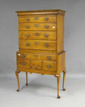 New England Queen Anne maple and birch highboy