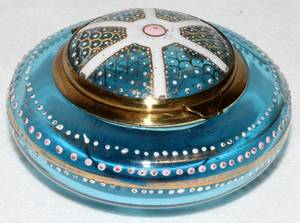 061297 VICTORIAN ENAMELED GLASS BOX LATE 19TH C