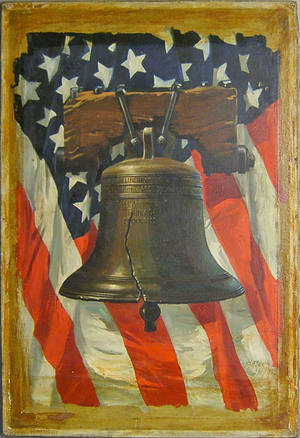 Oil on canvas illustration of the Liberty Bell