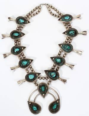 041277 NAVAJO SILVER  TURQUOISE NECKLACE L 20