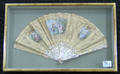 Two painted Victorian fans in shadow box frames