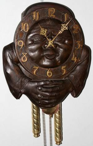 070251 GERMAN OAK WALL CLOCK EARLY 20TH CENTURY