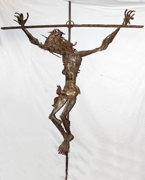 062333 M OWCZARSKI METAL SCULPTURE CHRIST ON CROSS