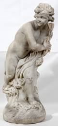 062314 ITALIAN CARVED MARBLE CHERUB WITH DOLPHIN