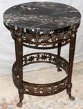 061329 WROUGHT IRON TABLE MARBLE TOP C 1920 H 21