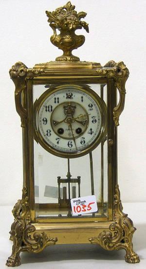 Connecticut brass mantle clock by Gilbert Clock Co