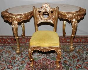 082273 CARVED  GILT WOOD WRITING DESK  CHAIR H 30