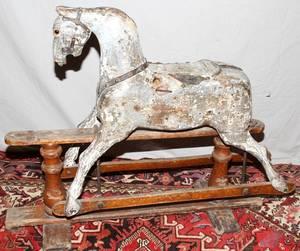 080270 VINTAGE WOOD PLATFORM ROCKING HORSE H 32