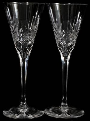 071323 CUT GLASS CHAMPAGNES SET OF ELEVEN H 8