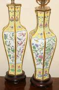 070284 CHINESE ENAMELED VASES CONVERTED INTO LAMPS