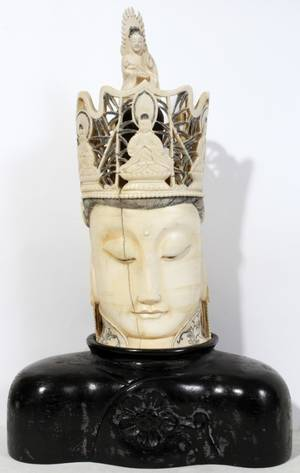 052322 CHINESE CARVED IVORY HEAD H 12