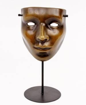 Surrealist Bronze Facial Mask Sculpture Signed