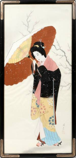 050336 SILK PAINTING OF A GEISHA 35 X 15