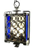 French Deco Iron  Blue Lucite Hanging Lantern