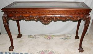 071377 CHIPPENDALE STYLE MAHOGANY CONSOLE TABLE H 34