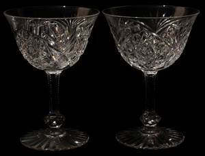 061423 CUT GLASS WINES SET OF FOUR H 4 12