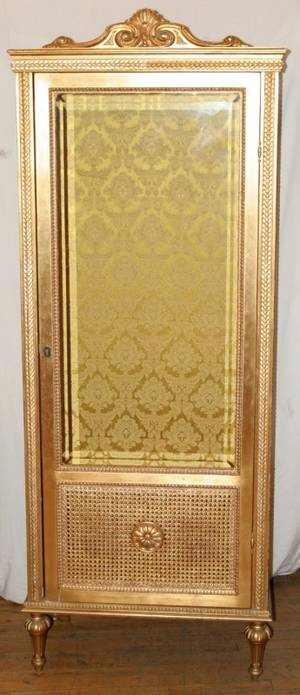 042402 FRENCH LOUIS XVI STYLE GILT CURIO CABINET