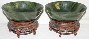 032315 CHINESE SPINACH JADE BOWLS TWO DIA 7 12