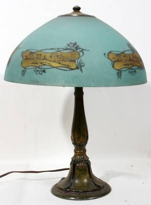 090384 REVERSE PAINTED TABLE LAMP SHADE H 21 DIA 16