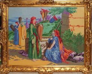 071408 NEEDLEPOINT 27 X 33 BIBLICAL SCENE