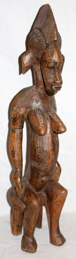 070355 AFRICAN CARVED WOOD FEMALE FIGURE H 27 L 6