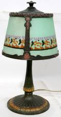 062464 LAMP SIGNED RENAUD GLASS SHADE SPELTER ANTIQUE