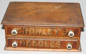 060375 CROWLEYS NEEDLES TWO DRAWER MINIATURE CHEST