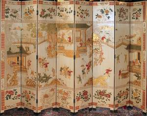 060373 CHINESE PAINTED EIGHT PANEL SCREEN MODERN 84
