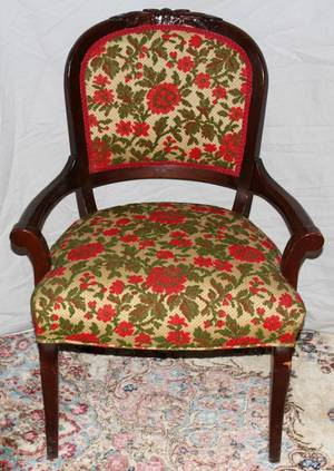 042406 CARVED MAHOGANY  UPHOLSTERED OPEN ARMCHAIR