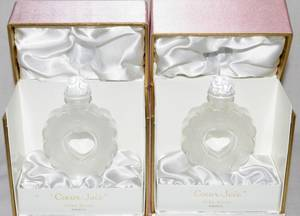 032373 LALIQUE CRYSTAL PERFUME BOTTLES IN BOXES PAIR