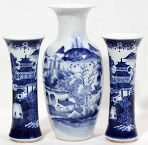 090433 CHINESE BLUE  WHITE PORCELAIN VASES THREE