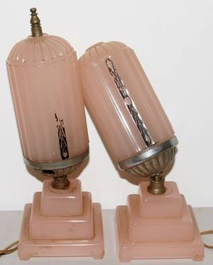 080387 ART DECO GLASS BOUDOIR LAMPS C 1920 PAIR