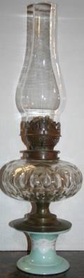 080385 ANTIQUE OIL TABLE LAMP C 1890 H 21