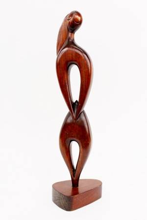 Casas Carved Wood Modern Sculpture