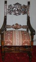 052415 CARVED WALNUT  UPHOLSTERED ARMCHAIR H 47