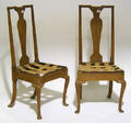 Pair of English Queen Anne walnut chairs