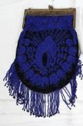 041495 BEADED PURSE C 1900 ROYAL BLUE  BLACK BEADS