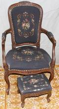 032388 FRENCH STYLE WALNUT CHAIR AND FOOTSTOOL