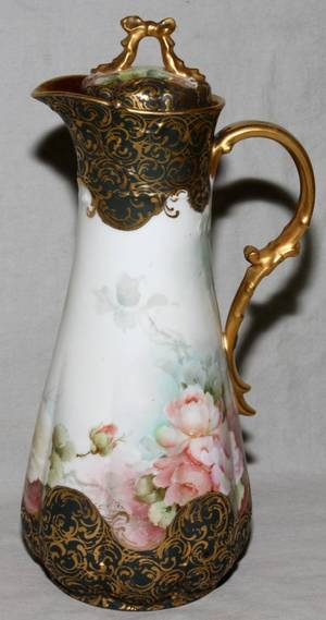 090468 GDA LIMOGES PAINTED PORCELAIN CHOCOLATE POT