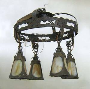 Art Nouveau hammered copper chandelier with slag glass shades