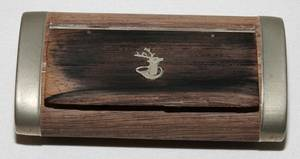 082443 FRENCH WOOD  SILVER SNUFF BOX 19TH CENTURY
