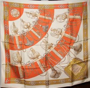 052443 HERMES VINTAGE SILK SCARF BY JULIA ABADIE