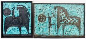 Two Modern Blue Impasto Paintings Signed Luzon