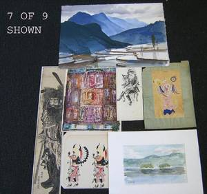 Nine watercolor and ink works to include examples by Edward Dodd